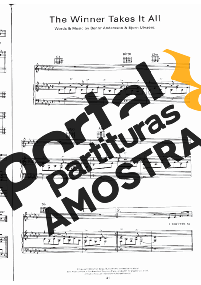 Abba The Winner Takes it All partitura para Piano