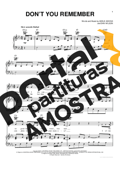 Adele Don´t You Remember partitura para Piano