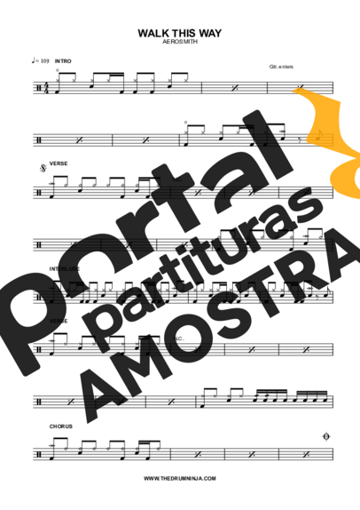 Aerosmith Walk This Way partitura para Bateria