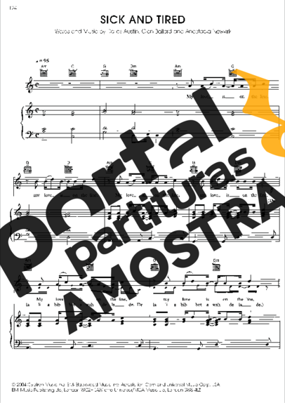 Anastacia Sick And Tired partitura para Piano