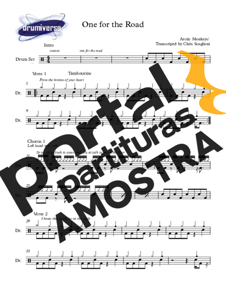 Arctic Monkeys One For The Road partitura para Bateria