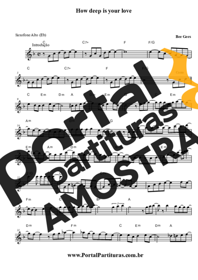 Bee Gees How Deep is Your Love partitura para Saxofone Alto (Eb)