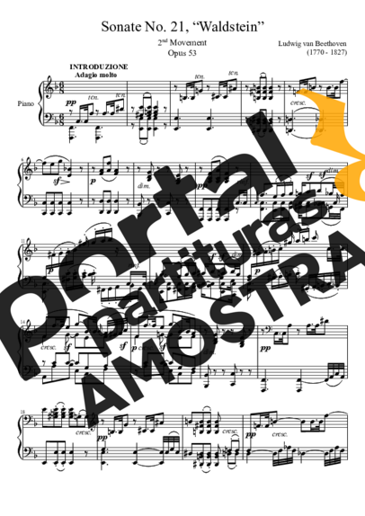 Beethoven Sonata No 21 Waldstein 2nd Movement partitura para Piano