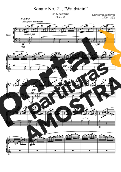 Beethoven Sonata No 21 Waldstein 3rd Movement partitura para Piano