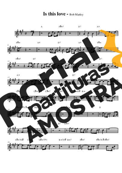 Bob Marley Is This Love partitura para Saxofone Alto (Eb)