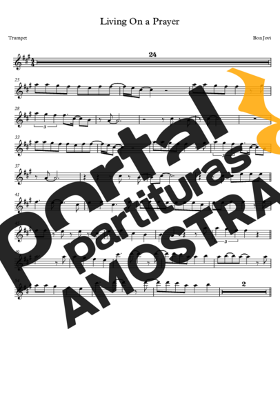 Bon Jovi Livin´ On A Prayer partitura para Trompete