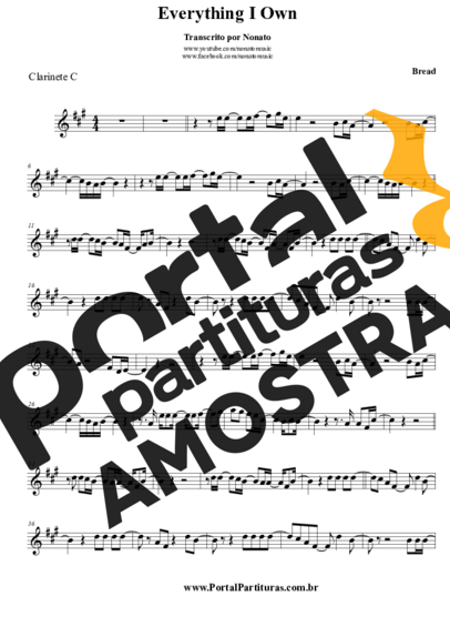 Bread Everything I Know partitura para Clarinete (C)