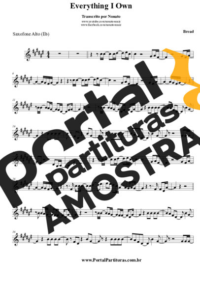 Bread Everything I Know partitura para Saxofone Alto (Eb)
