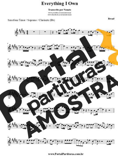 Bread Everything I Know partitura para Saxofone Tenor Soprano Clarinete (Bb)