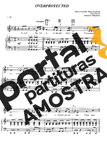 Britney Spears Overprotected partitura para Piano