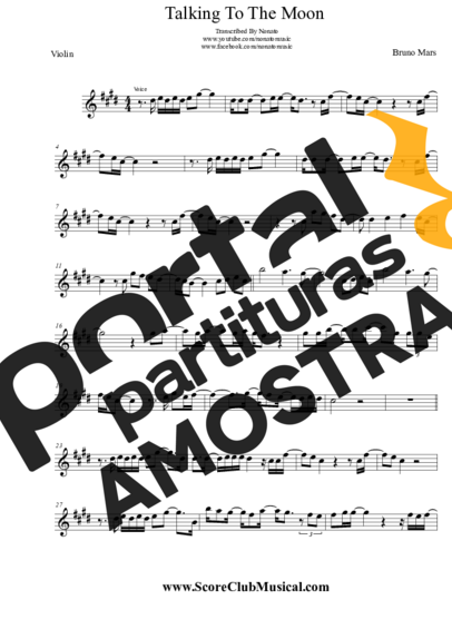 Bruno Mars Talking To The Moon partitura para Violino