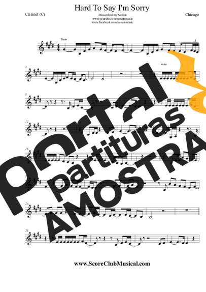 Chicago Hard To Say I´m Sorry partitura para Clarinete (C)