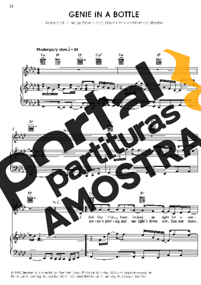 Christina Aguilera Genie In A Bottle partitura para Piano