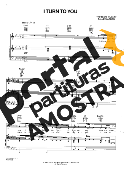 Christina Aguilera I Turn To You partitura para Piano