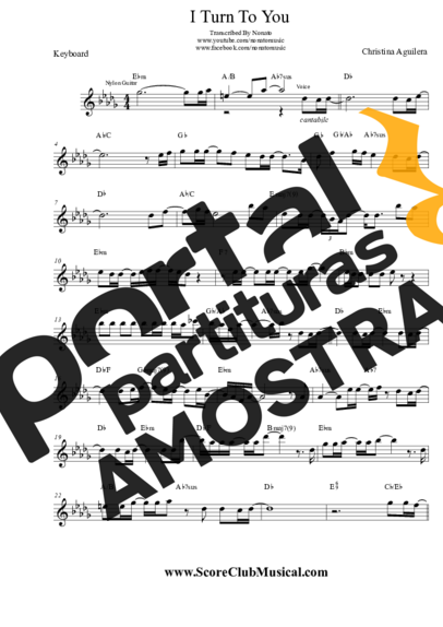 Christina Aguilera I Turn To You partitura para Teclado