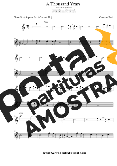 Christina Perri A Thousand Years partitura para Saxofone Tenor Soprano Clarinete (Bb)