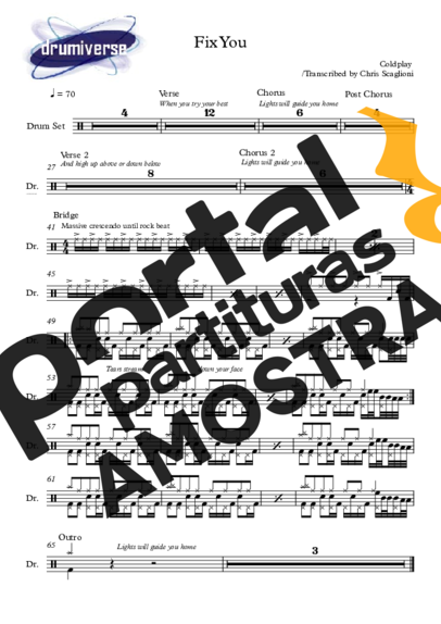 Coldplay Fix You partitura para Bateria