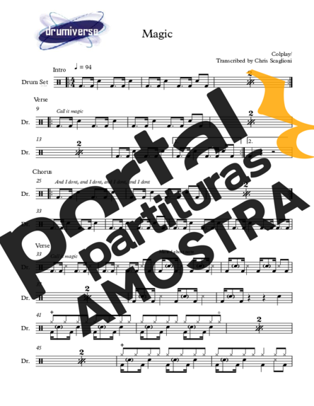 Coldplay Magic partitura para Bateria