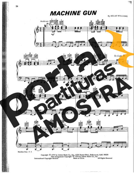 Commodores Machine Gun partitura para Piano