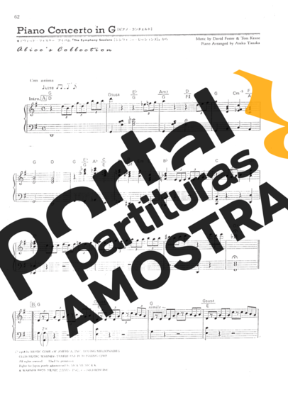 David Foster Piano Concerto In G partitura para Piano