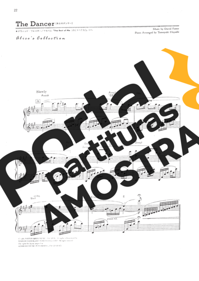 David Foster The Dancer partitura para Piano