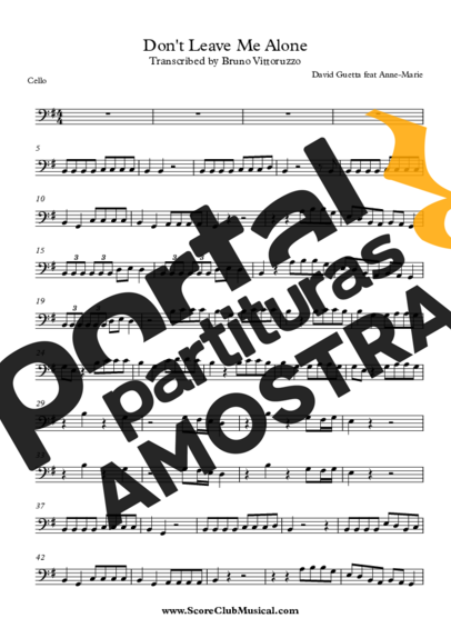 David Guetta feat Anne-Marie Don´t Leave Me Alone partitura para Violoncelo