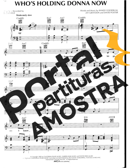 DeBarge Who´s Holding Donna Now partitura para Piano