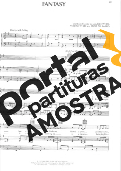 Earth Wind And Fire Fantasy partitura para Piano