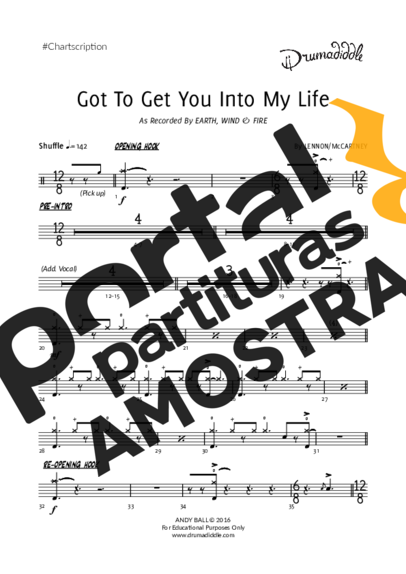 Earth Wind And Fire Got to Get You Into My Life partitura para Bateria