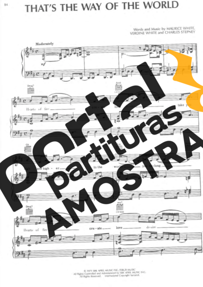 Earth Wind And Fire Thats The Way Of The World partitura para Piano