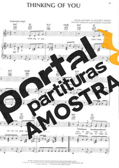 Earth Wind And Fire Thinking Of You partitura para Piano