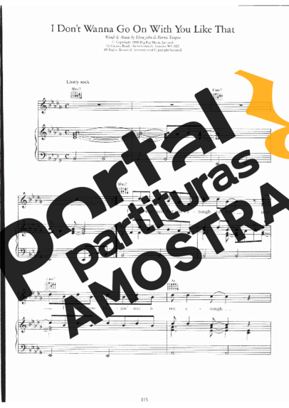 Elton John I Don´t Wanna Go On With You Like That partitura para Piano