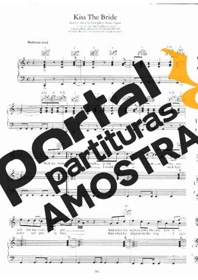 Elton John Kiss The Bride partitura para Piano
