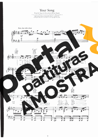 Elton John Your Song partitura para Piano