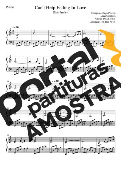 Elvis Presley Cant Help Falling In Love partitura para Piano