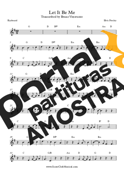 Elvis Presley Let It Be Me partitura para Teclado