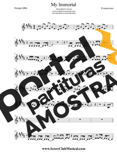 Evanescence My Immortal partitura para Trompete