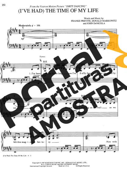 F. Previte, D. Markowitz, J. DeNicola The Time of My Life (Dirty Dancing) partitura para Piano