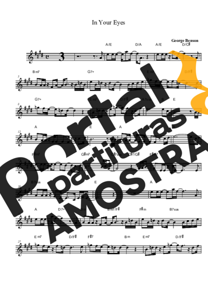 George Benson In Your Eyes partitura para Saxofone Tenor Soprano Clarinete (Bb)