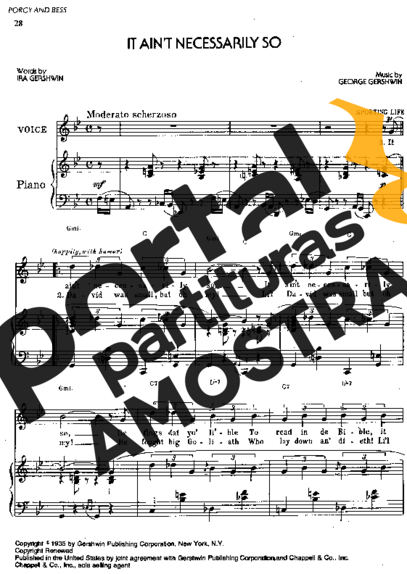 George Gershwin  It Ain´t Necessarily So partitura para Piano