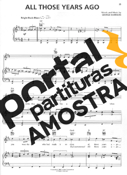 George Harrison All Those Years Ago partitura para Piano