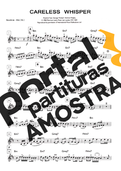 George Michael Careless Whisper partitura para Saxofone Alto (Eb)