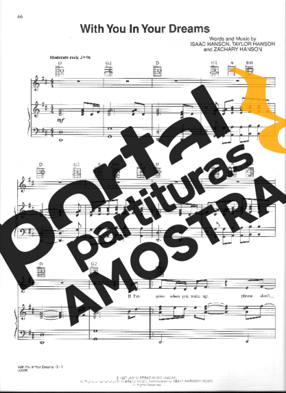 Hanson With You In Your Dreams partitura para Piano