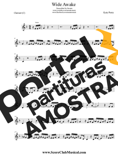 Katy Perry Wide Awake partitura para Clarinete (C)