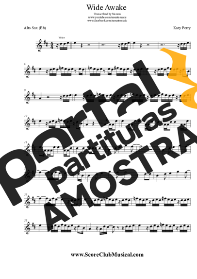 Katy Perry Wide Awake partitura para Saxofone Alto (Eb)