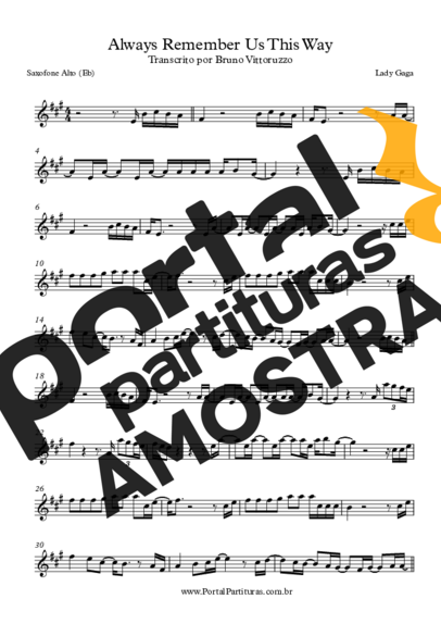 Lady Gaga Always Remember Us This Way partitura para Saxofone Alto (Eb)