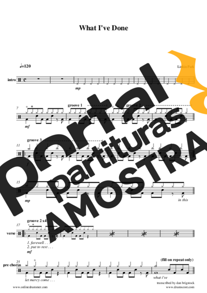 Linkin Park What I´ve Done partitura para Bateria