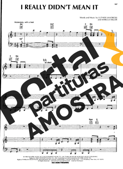 Luther Vandross I Really Didnt Mean It partitura para Piano