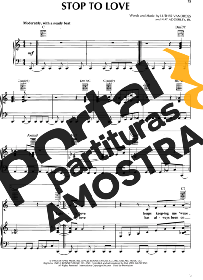 Luther Vandross Stop to Love partitura para Piano