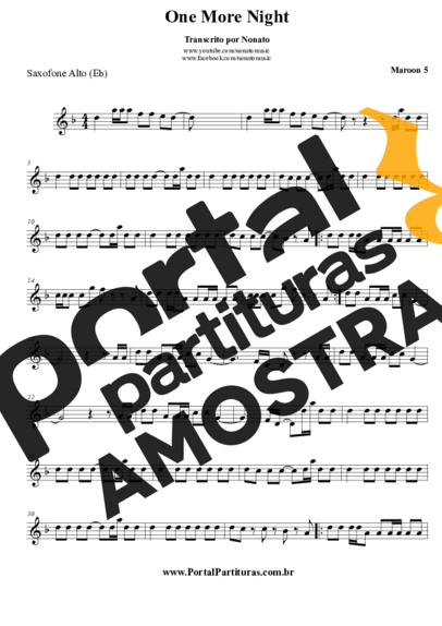 Maroon 5 One More Night partitura para Saxofone Alto (Eb)